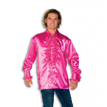 Satijnen overhemd roze heren