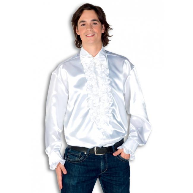 Satijnen overhemd wit  heren