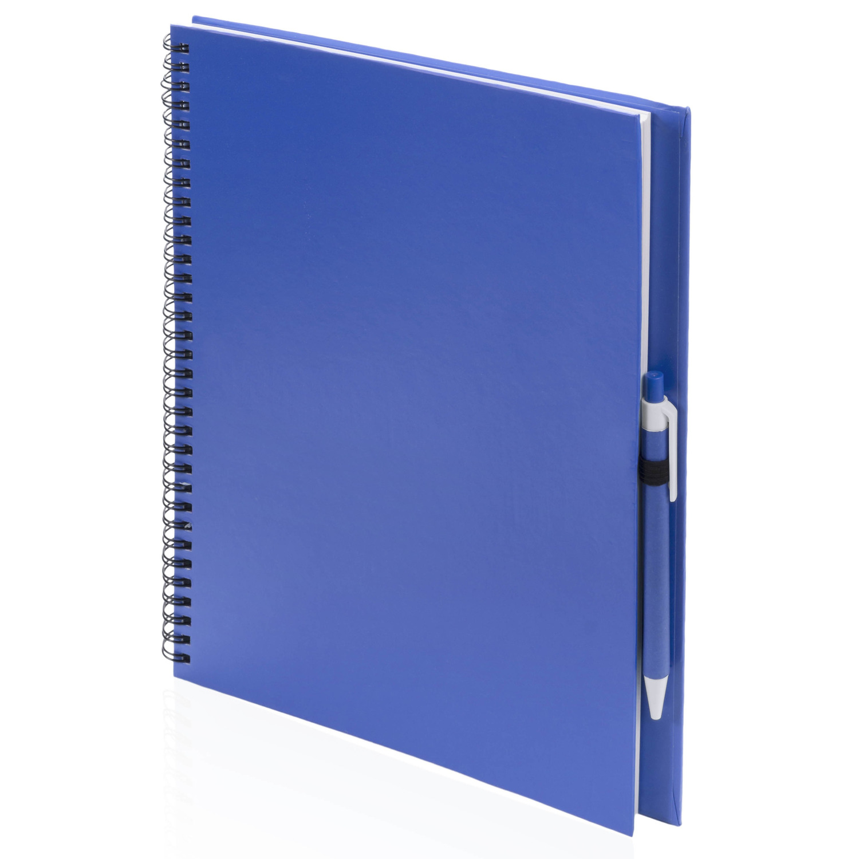 Schetsboeken blauw met pen