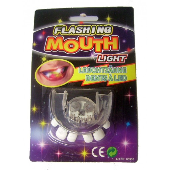 Scheve tanden tanden gebit met LED lampjes