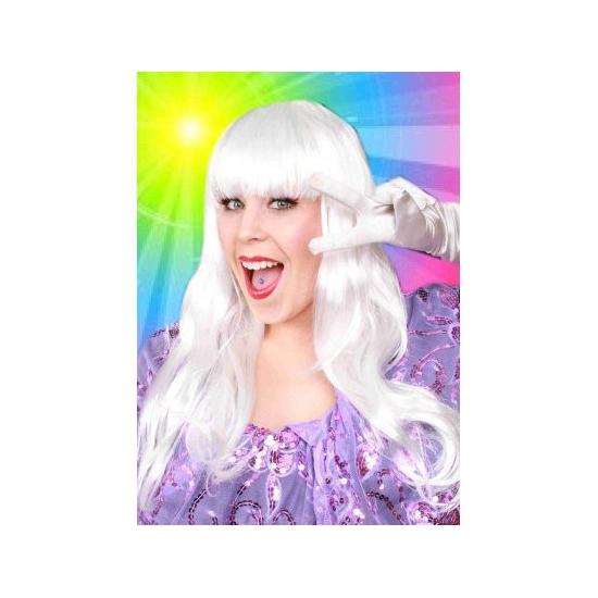 Sensation pruik met lang wit haar