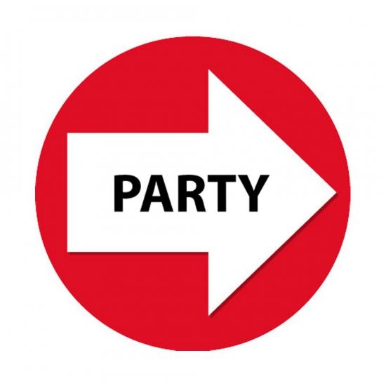 Set met rode pijl en party stickers