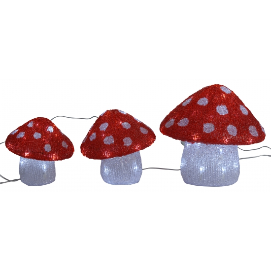 Set van 3 paddestoelen met LED verlichting