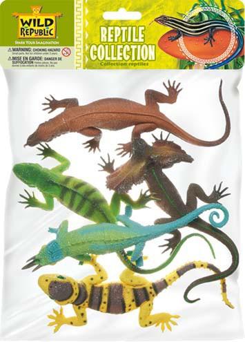 Setje met 5 plastic reptielen