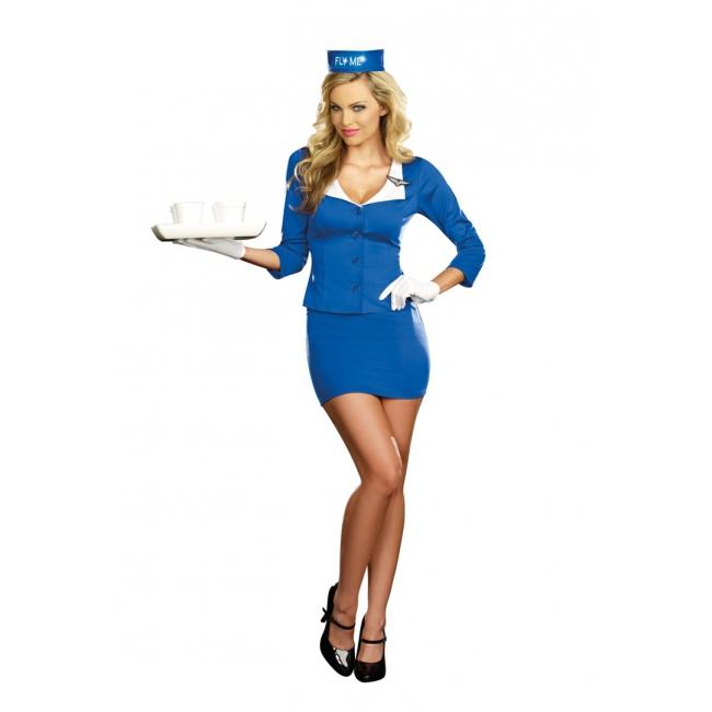 Sexy stewardessen jurk blauw