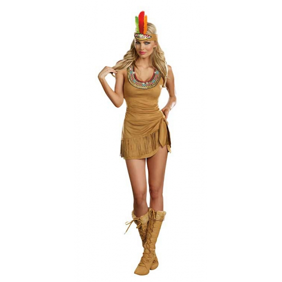 Sexy suede indianen jurk