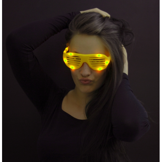 Shutter bril geel met LED lichtjes