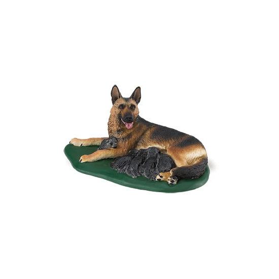 Speeldier Duitse Herder met puppies van plastic 10 cm