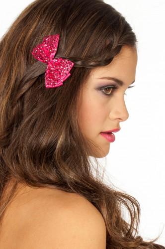 Strikjes haarclip roze