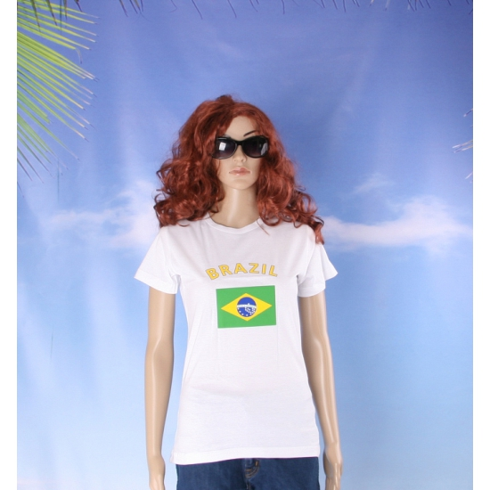 T shirt met Brazilische vlag print voor dames