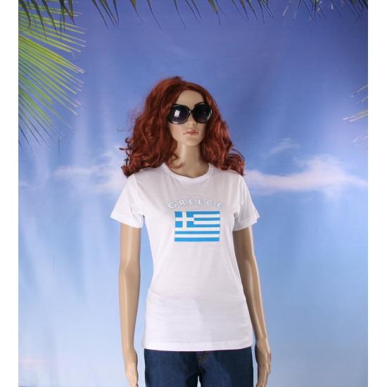 T shirt met Griekse vlag print voor dames