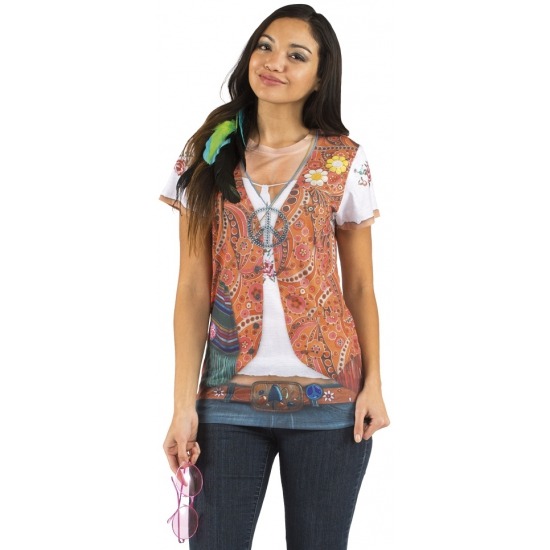 T shirt met hippie opdruk