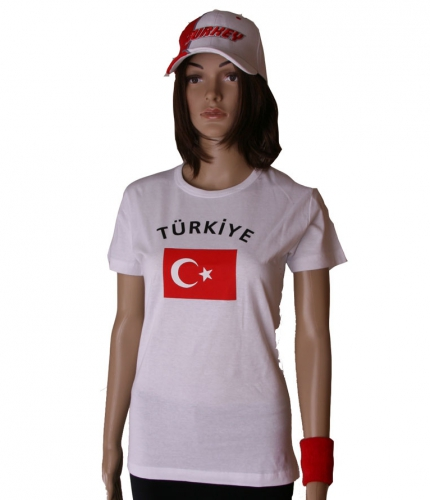 T shirt met Turkse vlag print voor dames
