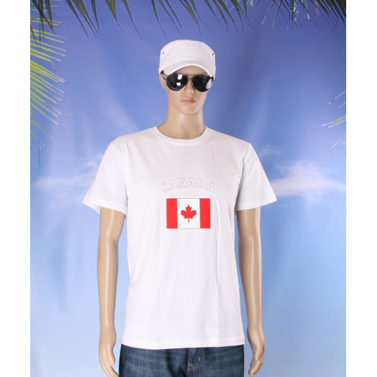 T shirts met Canadese vlag print