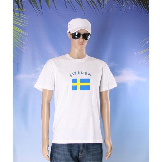 T shirts met Zweedse vlag print