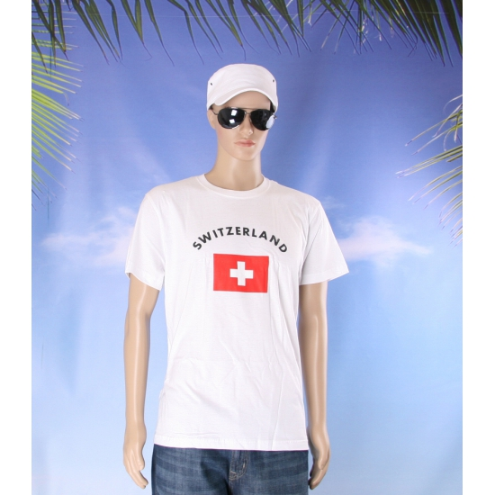 T shirts met Zwitserse vlag print