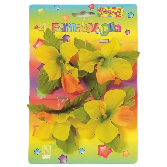 Tafeldecoratie tafelkleed klemmen met gekleurde bloemen 4 stuks