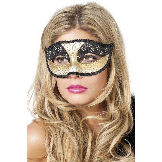 Theater oogmasker zwart goud