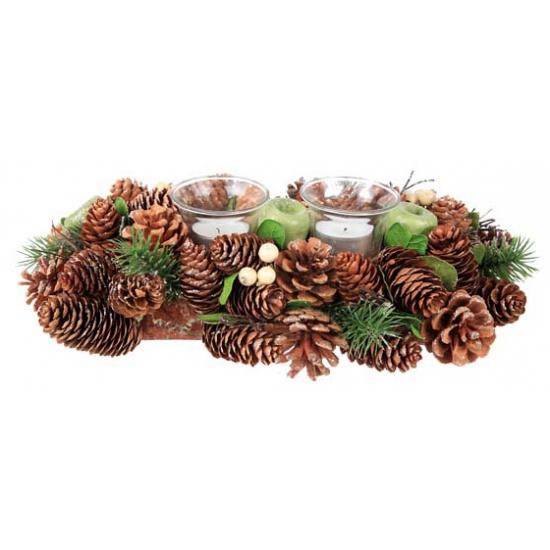 Theelichtjes in dennenappel kerststukje