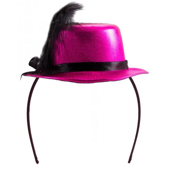 Tiara hoedje roze met zwart