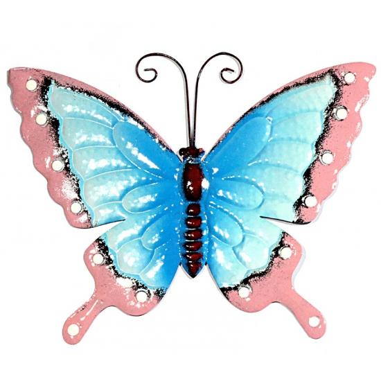 Tuin decoratie vlinder blauw/roze 30 cm