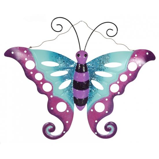 Tuin decoratie vlinder paars/blauw 41 cm