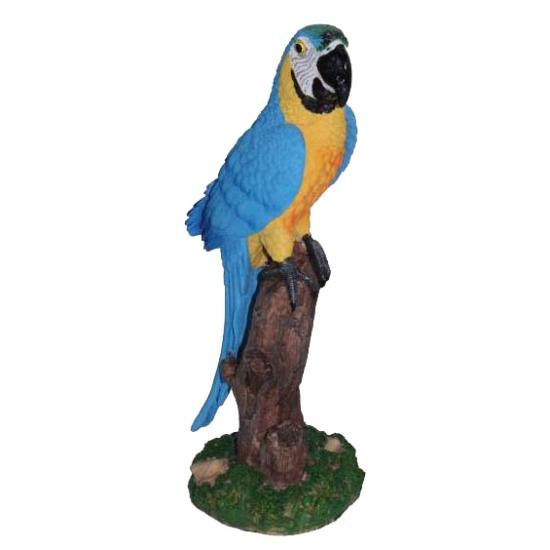 Tuinbeeldje papegaai blauw 32 cm