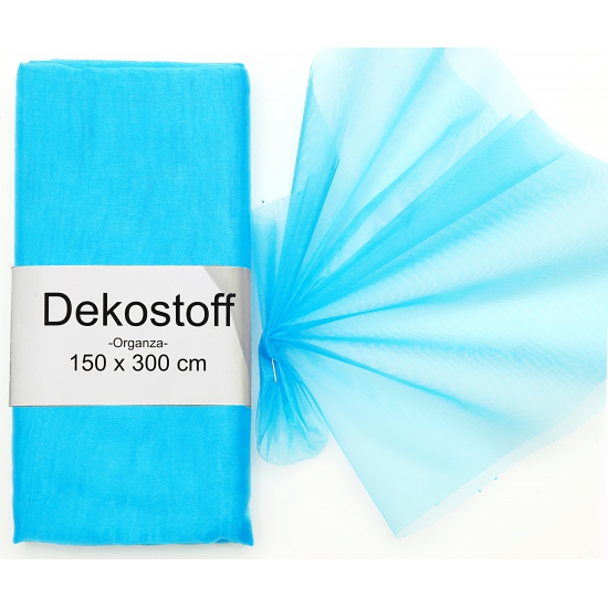 Turquoise organza stof 150 x 300 cm