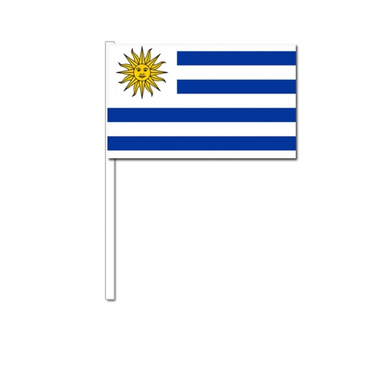 Uruguay zwaai vlaggetjes 12 x 24 cm
