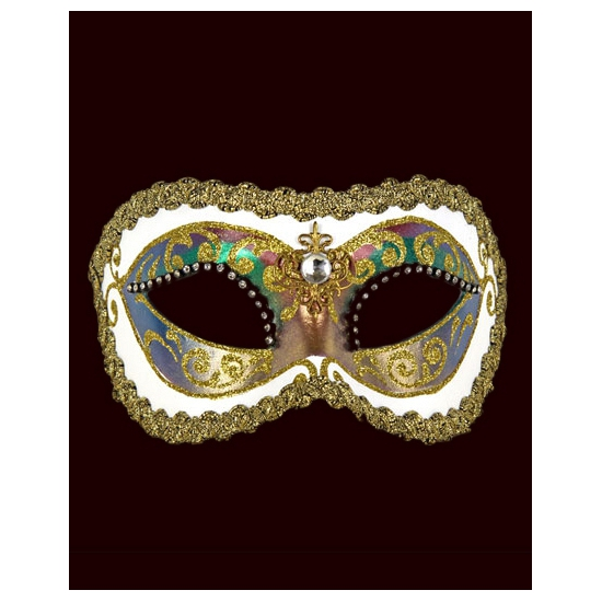 Venetiaanse oogmaskers barok wit met strass