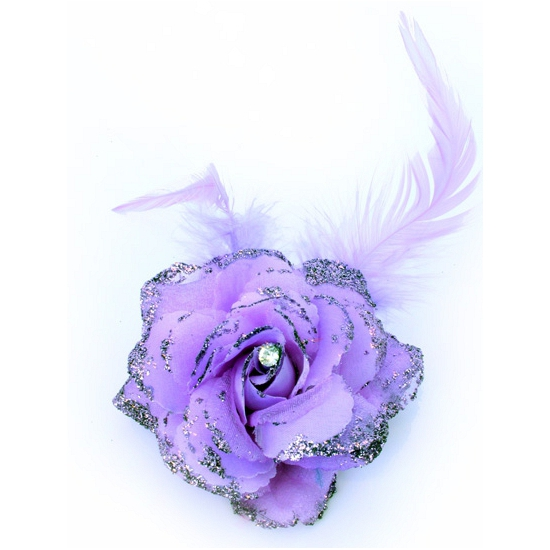 Verkleedaccessoires paarse glitter bloem