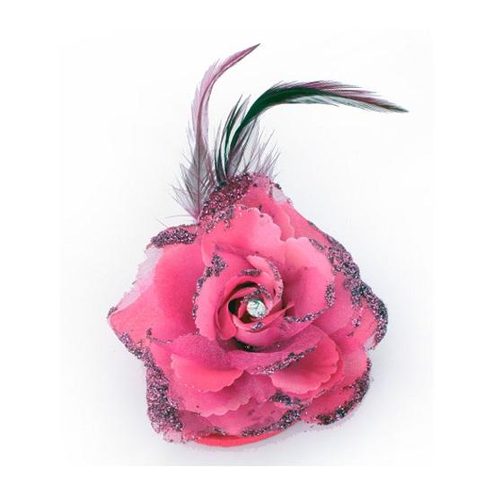 Verkleedaccessoires roze glitter bloem
