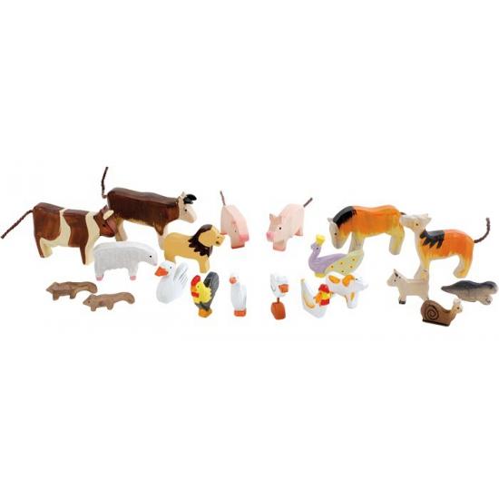 Verschillende dieren van hout 20 stuks
