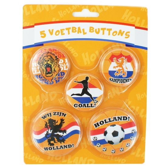 Vijf oranje buttons Hup Holland