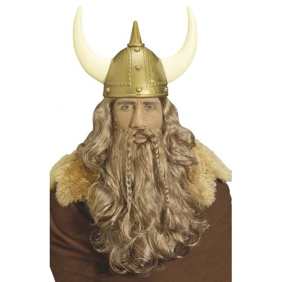 Viking pruik met vlechten snor
