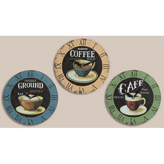 Vintage klok koffie blauw 28 cm