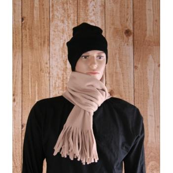 Warme franje sjaal creme