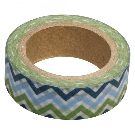 Washi tape zigzag blauw groen