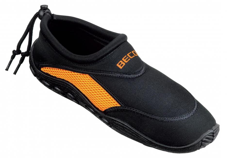 Waterschoenen voor dames zwart met oranje