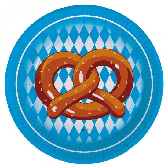 Wegwerp borden Oktoberfest pretzel 8 stuks