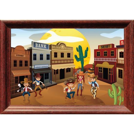 Western stad poster 59 x 42 cm