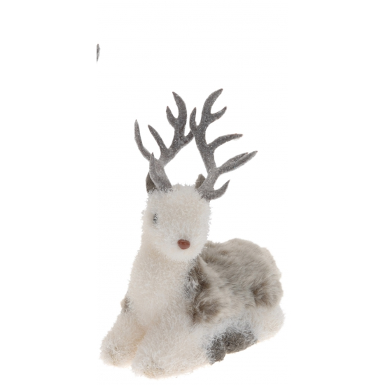 Winter decoratie hert liggend 24 cm