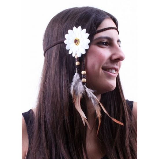 Wit hoofdbandje met bloem en veren