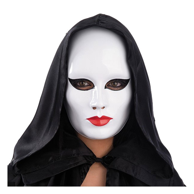 Wit masker met rode lippen