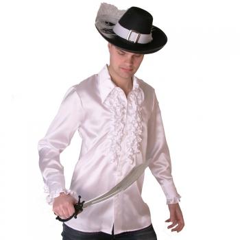 Wit piraten ruches shirt voor heren
