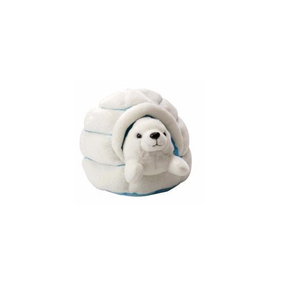 Wit zeehondje in iglo knuffeldier