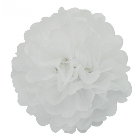 Witte bloem pompom 25 cm