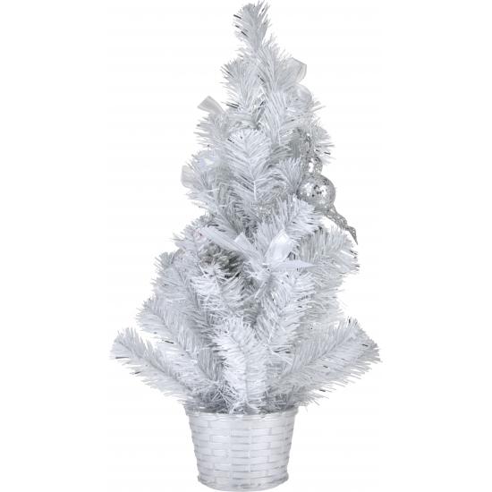 Witte deco kerstboom met versiering 50 cm
