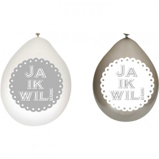 Witte en zilveren bruiloft ballonnen Ja ik wil