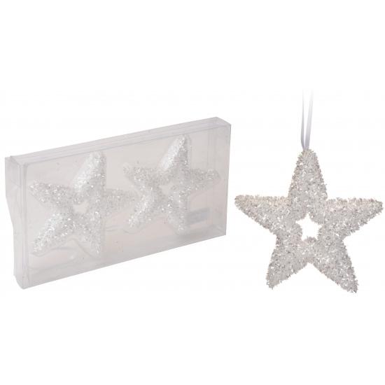 Witte glitter ster kertsboom hangertjes 13 cm